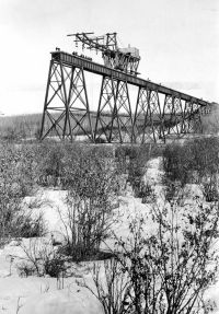The Mintlaw trestle under construction in 1911