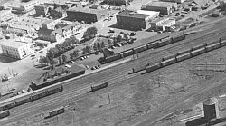 Red Deer station, yards, park and hotels 1955
