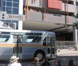 classic bus near Red Deer transit parkade
